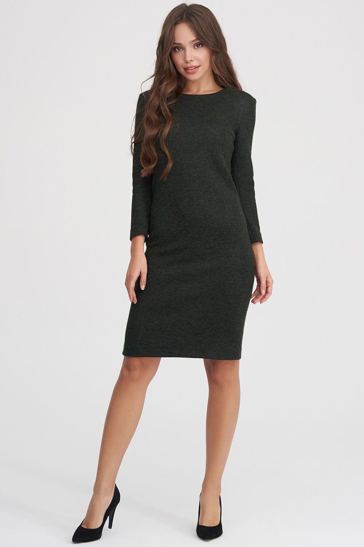 e7df47ce365 ... Трикотажное платье из фактурной ткани темно-зеленого цвета - интернет- магазин Natali Bolgar ...