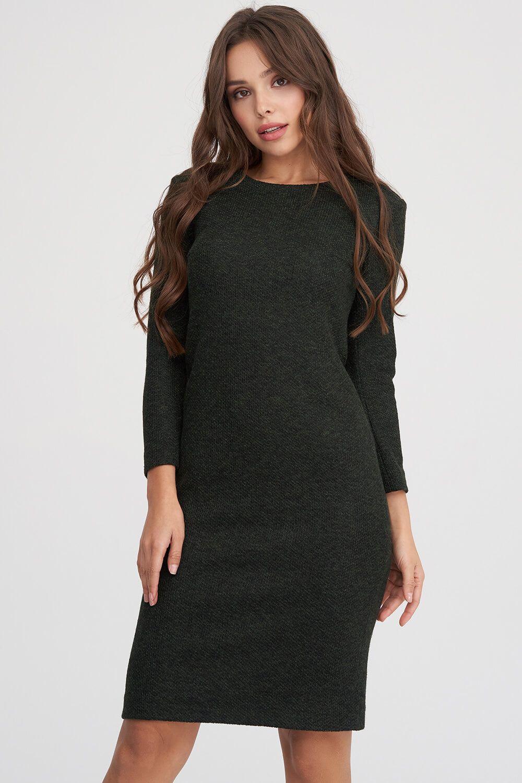 0affe14ff37 ... Трикотажное платье из фактурной ткани темно-зеленого цвета 1 - интернет- магазин Natali Bolgar ...