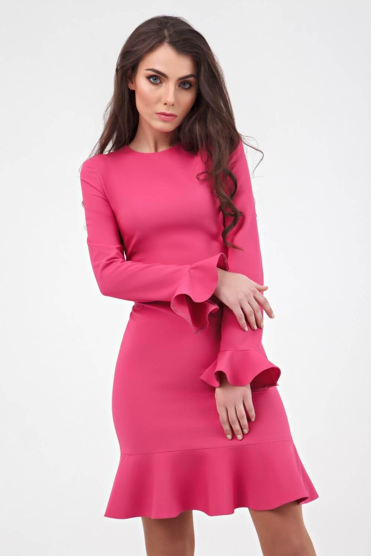 f7b36677728 ... Платье цвета фуксии с воланами - интернет-магазин Natali Bolgar ...