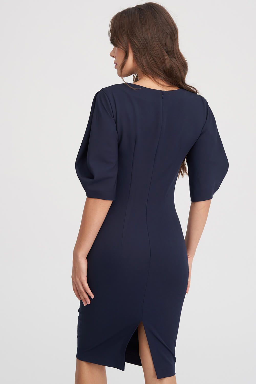 262d3cddaf0 Платье-футляр с объемными рукавами темно-синего цвета 2 - интернет-магазин  Natali ...