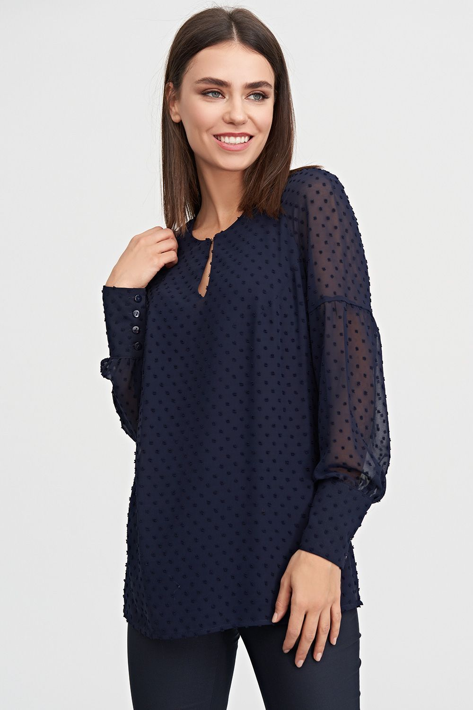 684293a1a0e4 ... Шифоновая блуза синего цвета станет нарядным дополнением твоего  осеннего гардероба. Благодаря игривой полупрозрачной ткани и широким  манжетам блуза ...